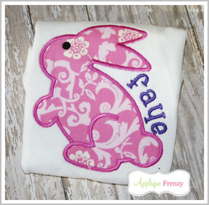 Hoppy the Bunny Applique Design-chocolate bunny, rabbit, bunny,easter