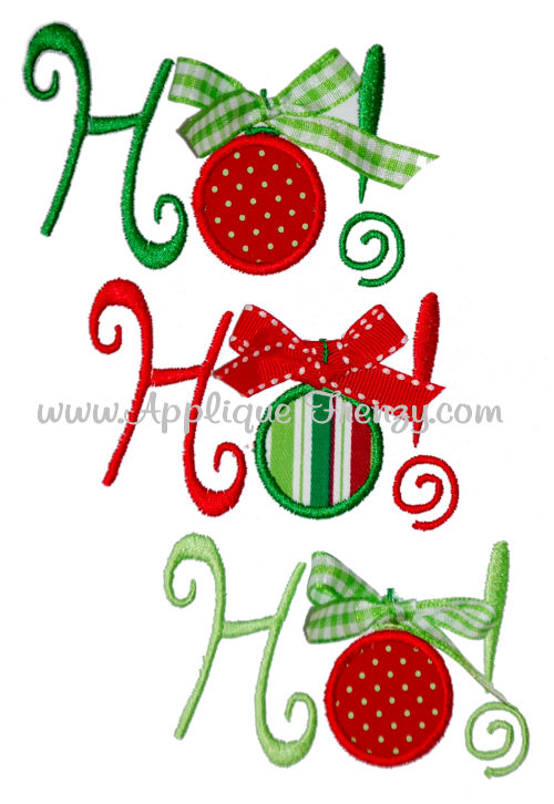 Ho Ho Ho Ornament Applique Design-ornament, christmans, embroidery, applique, christmas, ribbon, ho ho ho, santa