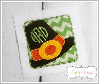 Pilgrim Hat Square Patch Applique Design