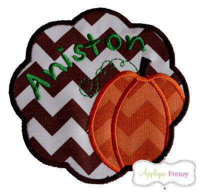 Pumpkin Scallop Patch Applique Design