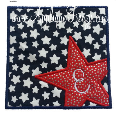 STAR  Square Patch  Applique Design-