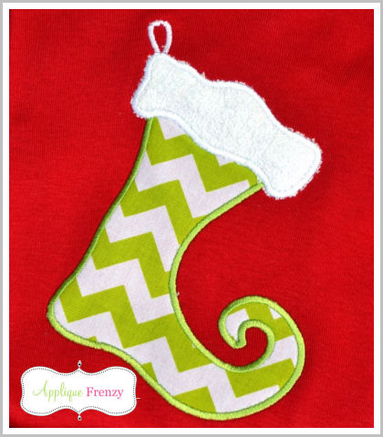 Elf Stocking Applique Design-