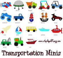 Transportation MINIS Embroidery Designs-car, boys, train, ship, boat, jeep, sailboat, minis, tiny, monster truck, truck, dumptruck,transportation