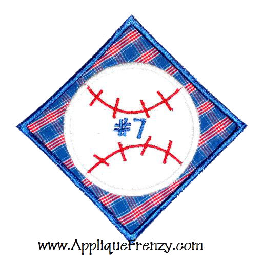 Baseball Diamond Patch Applique Design-