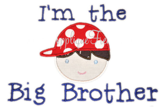 Big Brother Boy Applique Design-BIG BROTHER, LITTLE BROTHER, SIBLING