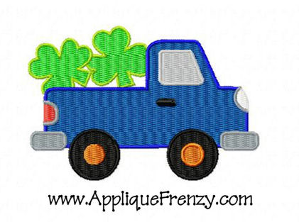 Shamrock Pickup FILLED Embroidery Design-shamrock, fill, embroidery, st patricks, st patty, irish, kiss me