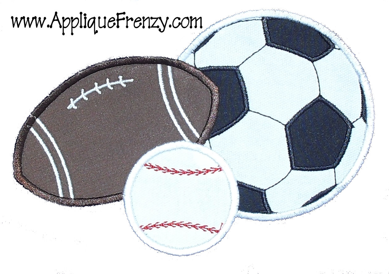 Sports Trio Soccer Applique Design-sport trio, soccer, basketball, baseball, sports