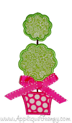 Topiary Applique Design-topiary, plant, tree, spring, flowers, easter, birds