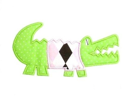 Alligator with Shirt Applique Design-