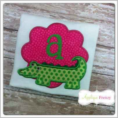 Alligator Scallop Patch Applique Design