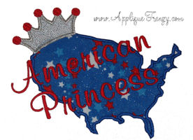 American Princess Outline Applique Design-american, usa, united states, fourth of july, july 4th, patriotic