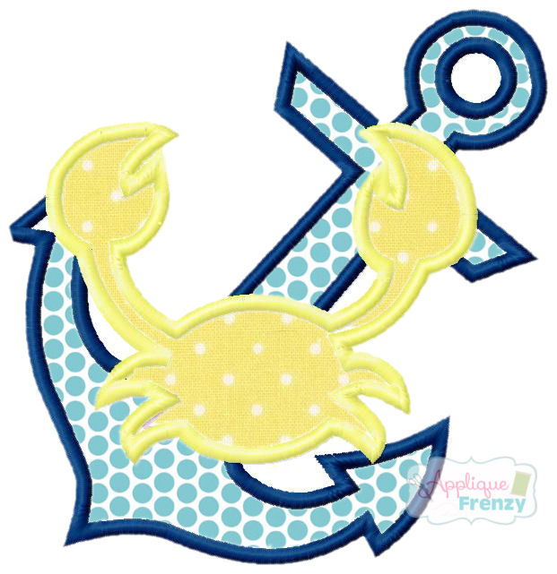 Anchor Crab Applique Design-crab, anchor, summer, ocean, beach, cruise, vacation