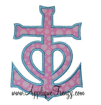 Anchor Heart Applique Design-