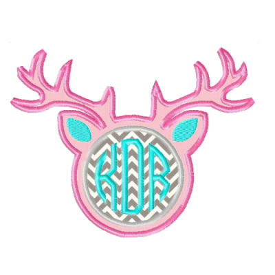 Deer Antlers Applique Design-