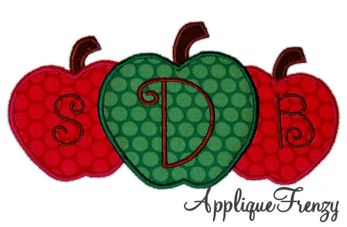 Apple Trio Applique Design-