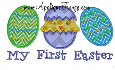 Baby Chick Egg Trio Applique Design-