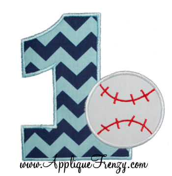 First Baseball Birthday Applique Design-