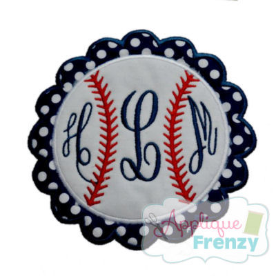 Baseball Circle Scallop Patch Applique Design-
