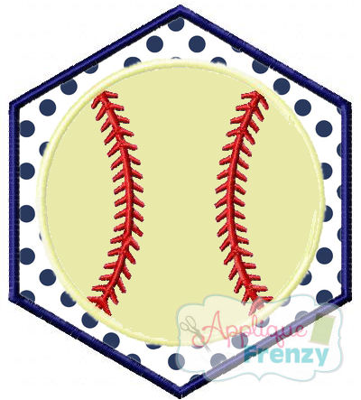 Baseball Hexagon Patch Applique Design-