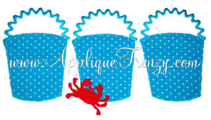 Beach Bucket Trio with Crab  Applique Design-