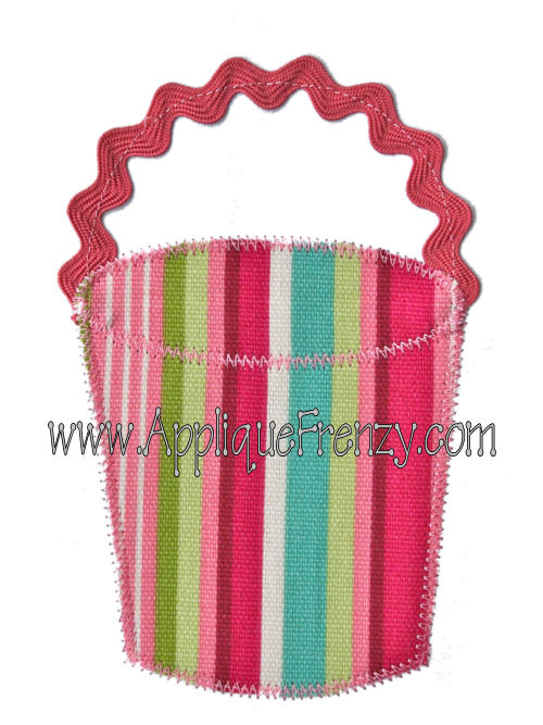 Beach Bucket Ric Rac Handle Applique Design