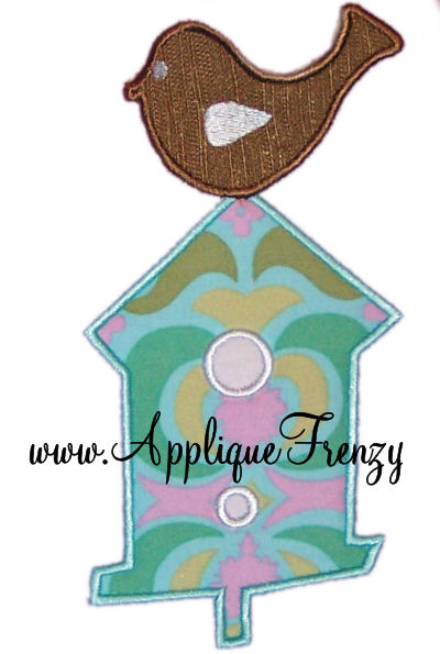 Bird on a Bird House Applique Design