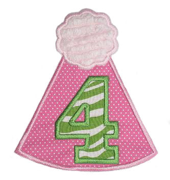 Pom Birthday Hat Applique Design-pom birthday hat, numbers, age