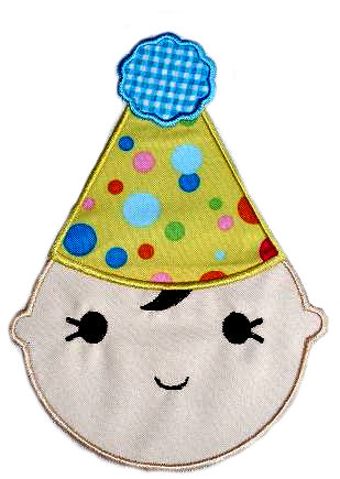 Birthday Hat Kid Applique Design-birthday boy, birthday hat kid, birthday baby