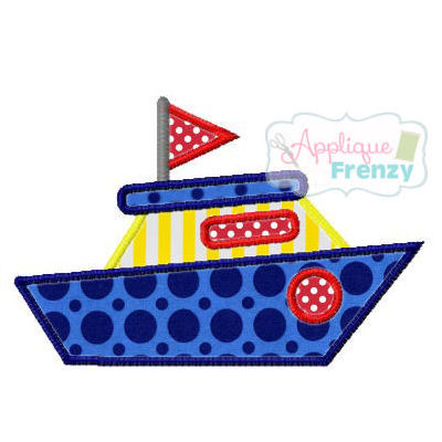 Summer Fun Boat Applique Design-