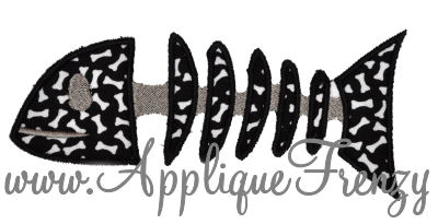 Bony Fish Applique Design-