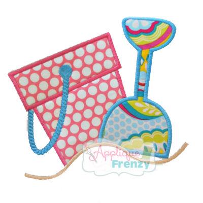 Bucket and Shovel in Sand Applique Design-