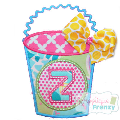 Bucket with Monogram Circle Applique Design-