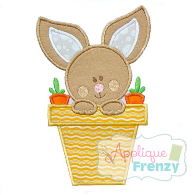 Bunny in a Flower Pot Applique Design-