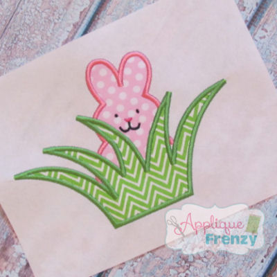 Bunny in Grass Applique Design-easter, bunny, rabit, jelly bean, rabbit
