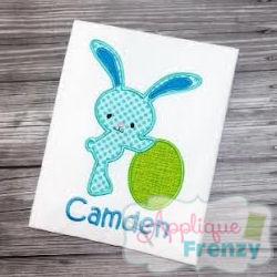 Bunny leaning on Egg Applique Design-
