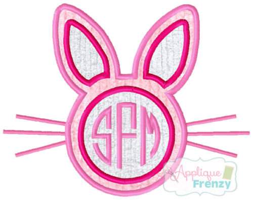 Bunny Outline Center Monogram Circle Applique Design-bunny, monogram, easter, applique, rabit