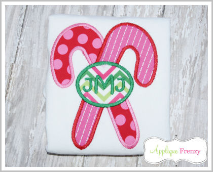 Candy Cane Monogram Applique Design-
