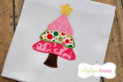 Layered Christmas Tree Applique Design-