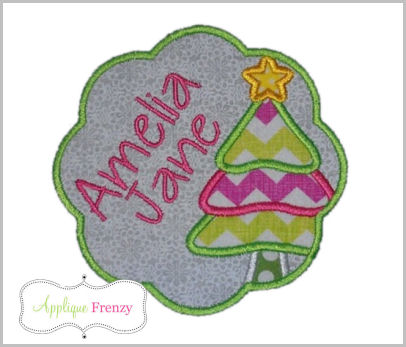 Christmas Tree Scallop Patch Applique Design-