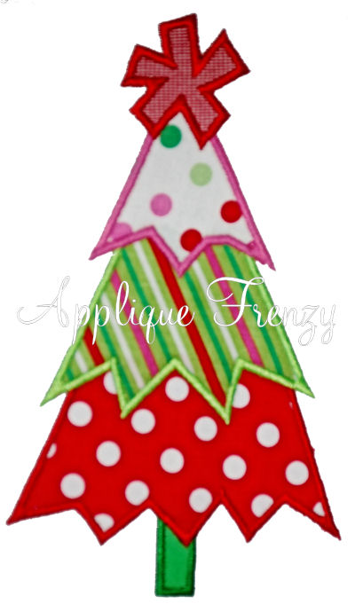 Whimsy Zig Zag Christmas Tree Applique Design-christmas, santa, tree, stocking, winter