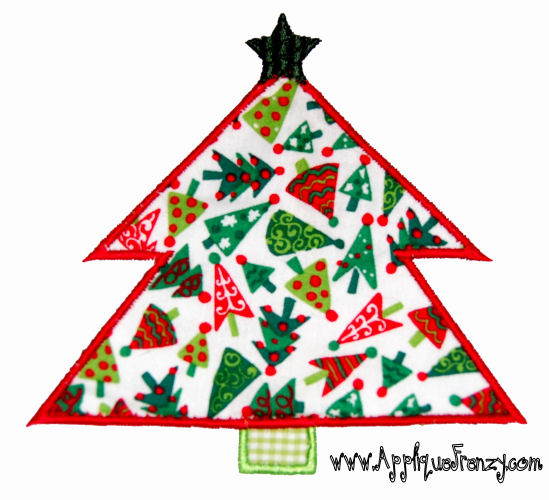 Christmas Tree With Star Applique Design-tree, christmas, santa, presents, gifts, winter