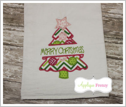 Split Snowy Christmas Tree Applique Design-