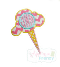 Cotton Candy with Monogram Circle Applique Design-