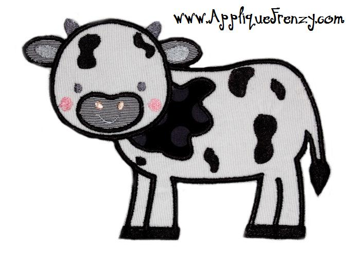 Cow Applique Design-cow, on the farm, farm, animals, barn