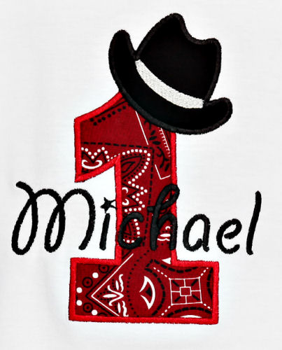 Cowboy Hat Birthday Numbers Applique Design
