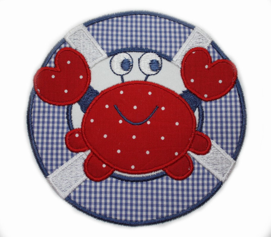 Crab and Life Preserver Applique Design-crab, summer, beach, swim,