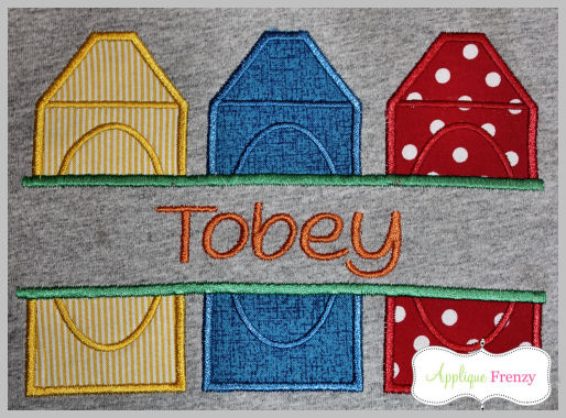 Split Crayon Trio Patch Applique Design