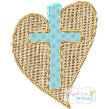 Cross Cut out of Heart Applique Design-heart, jesus, easter, cross, salvation, love, peace