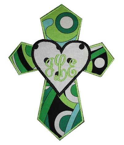 Cross My Heart Applique Design