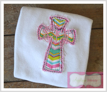 Double Cross 1 Raggy Applique Design-